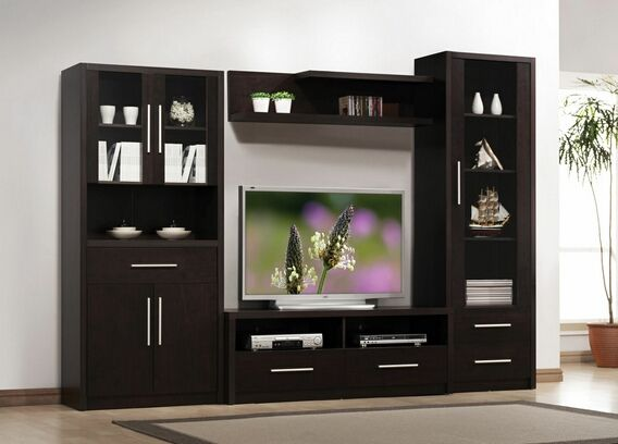 Modern Furniture Entertainment Center 4 pc espresso finish wood modern styling tv entertainment center