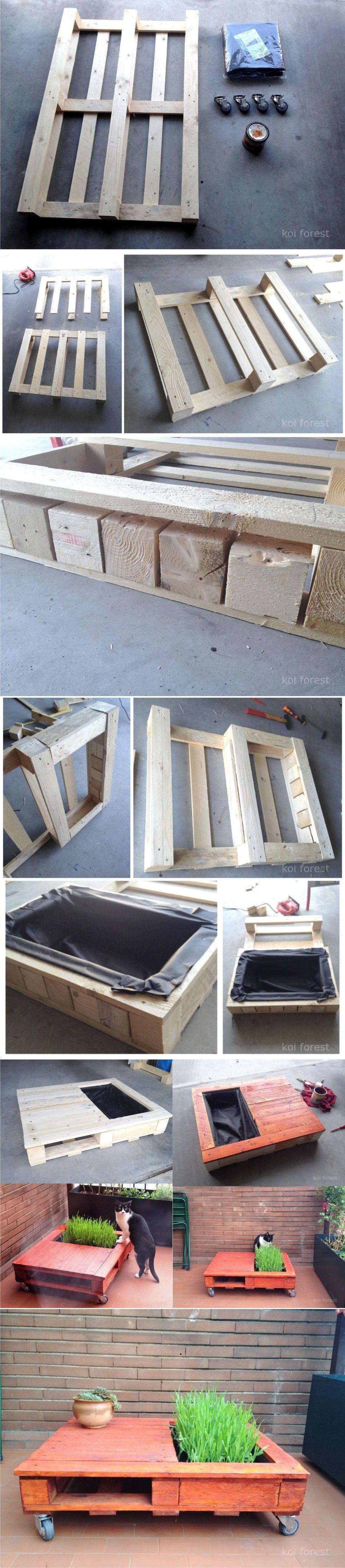 mesita con jardinera a partir de un pal astuce meuble. Black Bedroom Furniture Sets. Home Design Ideas