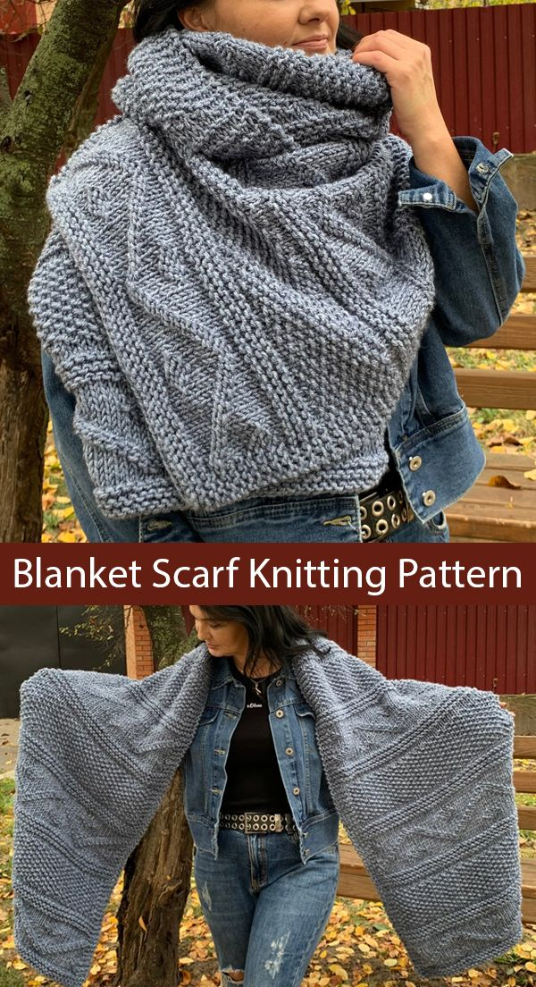 Knitting Pattern for Unisex Blanket Scarf
