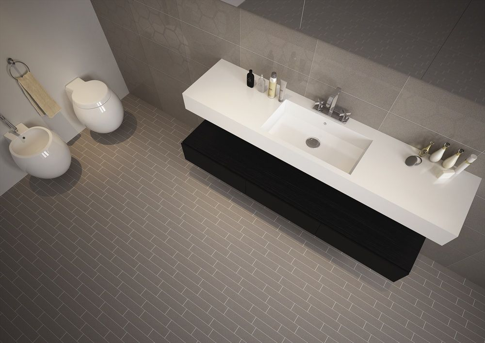 Grey Brick Bathroom Floor Tile Design