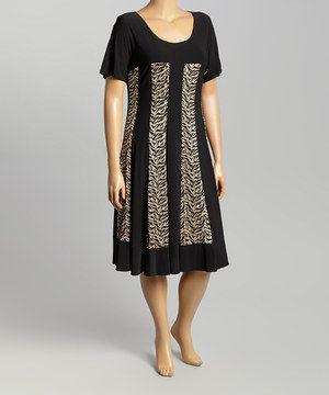 Another great find on #zulily! R&M Richards Black & Beige Vertical Stripe Shift Dress - Plus by R&M Richards #zulilyfinds