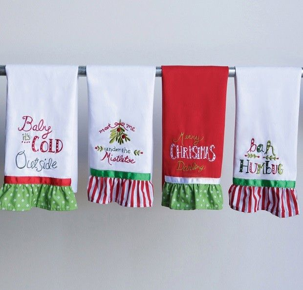 Embroidered Christmas Tea Towels, Set of 4 | Christmas tea ...