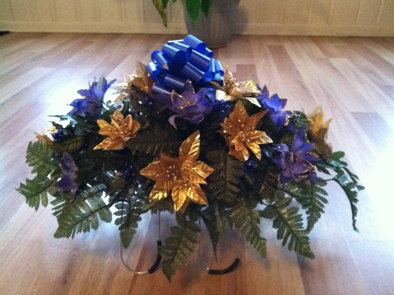 Christmas silk poinsettia blue/gold headstone by GuardianFlowers, $34.99