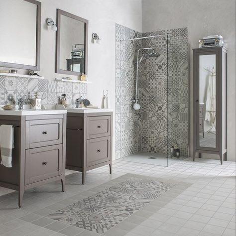 Carrelage intérieur Gatsby ARTENS en grès, gris et blanc, 20 x 20 cm - repeindre du carrelage de salle de bain