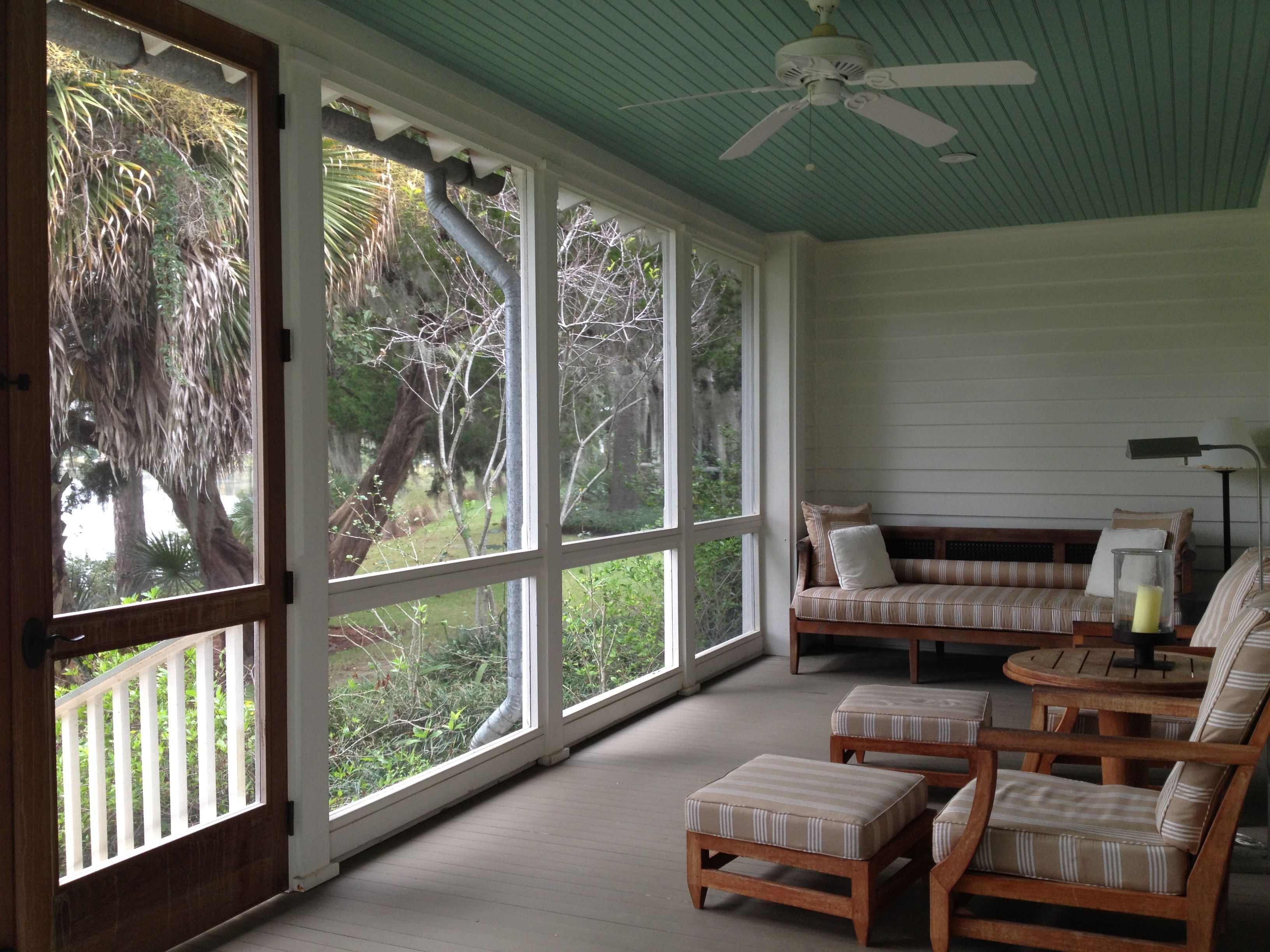 Screen Porch Door At The Top Of The Stairway Screened