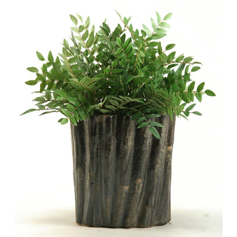 D&W Silks Green Locust Spray in an Oval Ceramic Planter - 156028