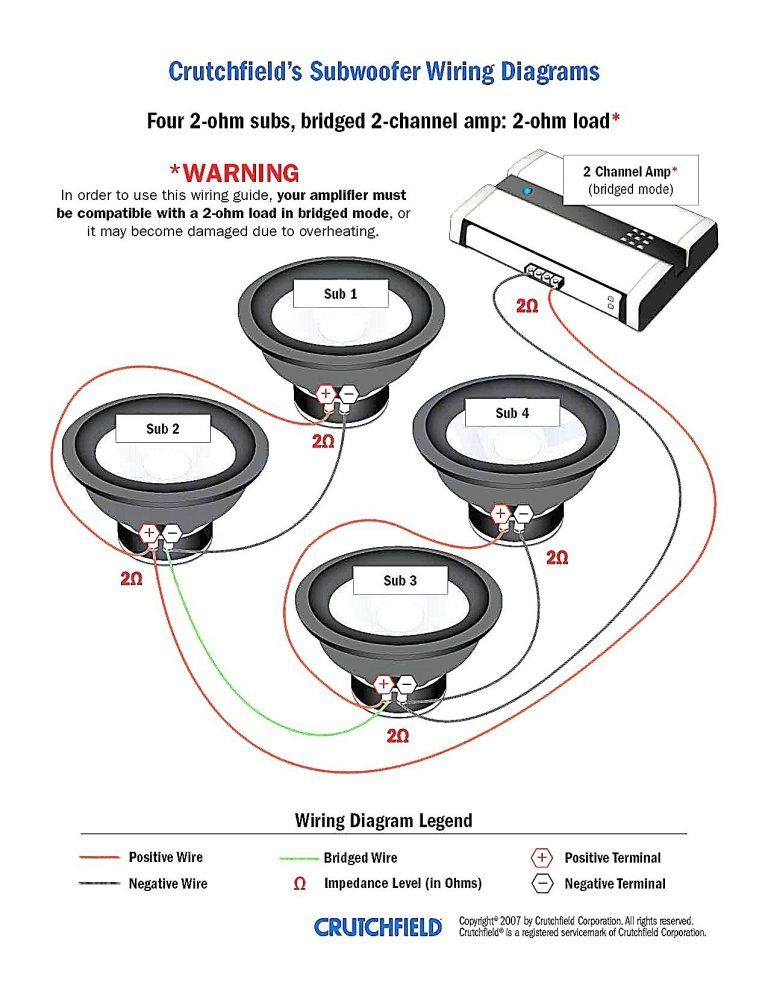 wiring diagram for dual 4 ohm subwoofer  subwoofer wiring