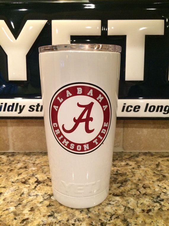 Custom YETI Rambler Tumbler  Alabama Crimson by JessBoysColors
