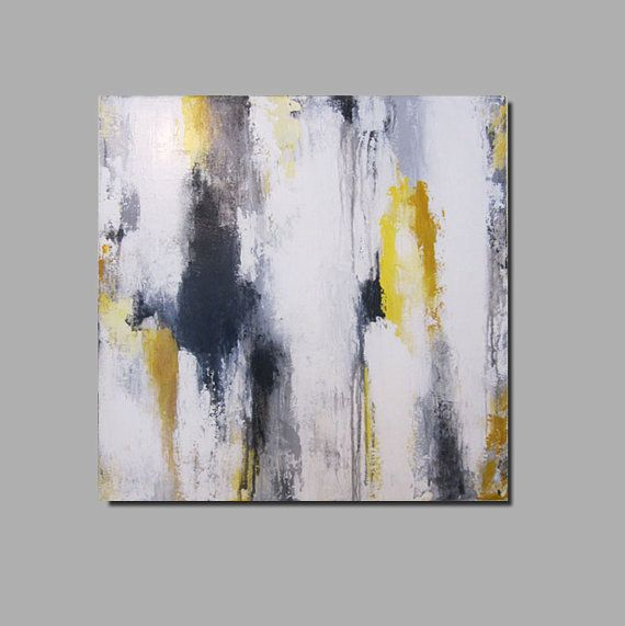 15 off now through 3 6 13 enter code 15off at checkout 20 x 20 modern contemporary abstract yellow gray black white painting