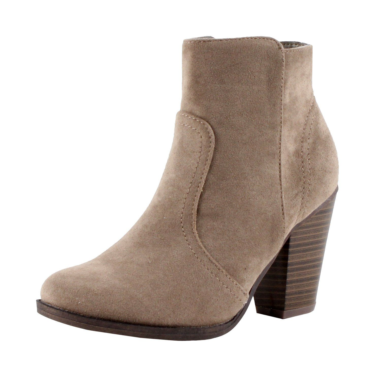 d38540591286b Breckelles Women's HEATHER-34 Faux Suede Chunky Heel Ankle Booties Beige  Suede 6.5. Synthetic. Imported. Heel Height~2 / Platform Height~0.25 /  Shaft ...