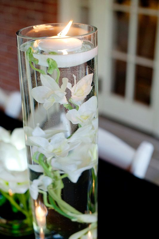 White orchid candle centerpiece wedding decor and unique for Creative candle centerpiece ideas