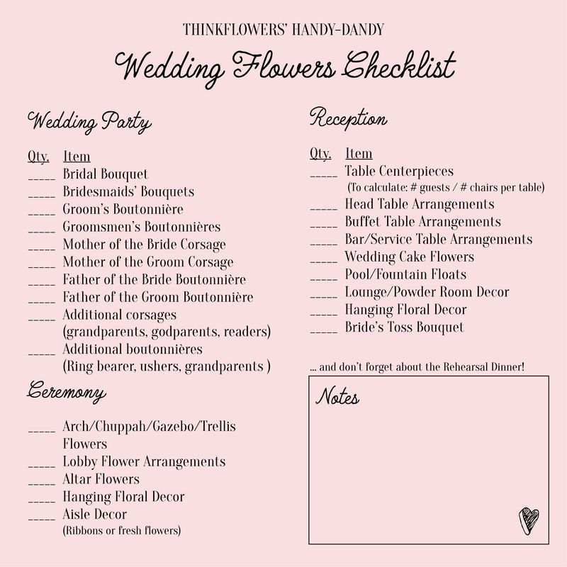 wedding flowers checklist thinkflowers blog blooms n banter in