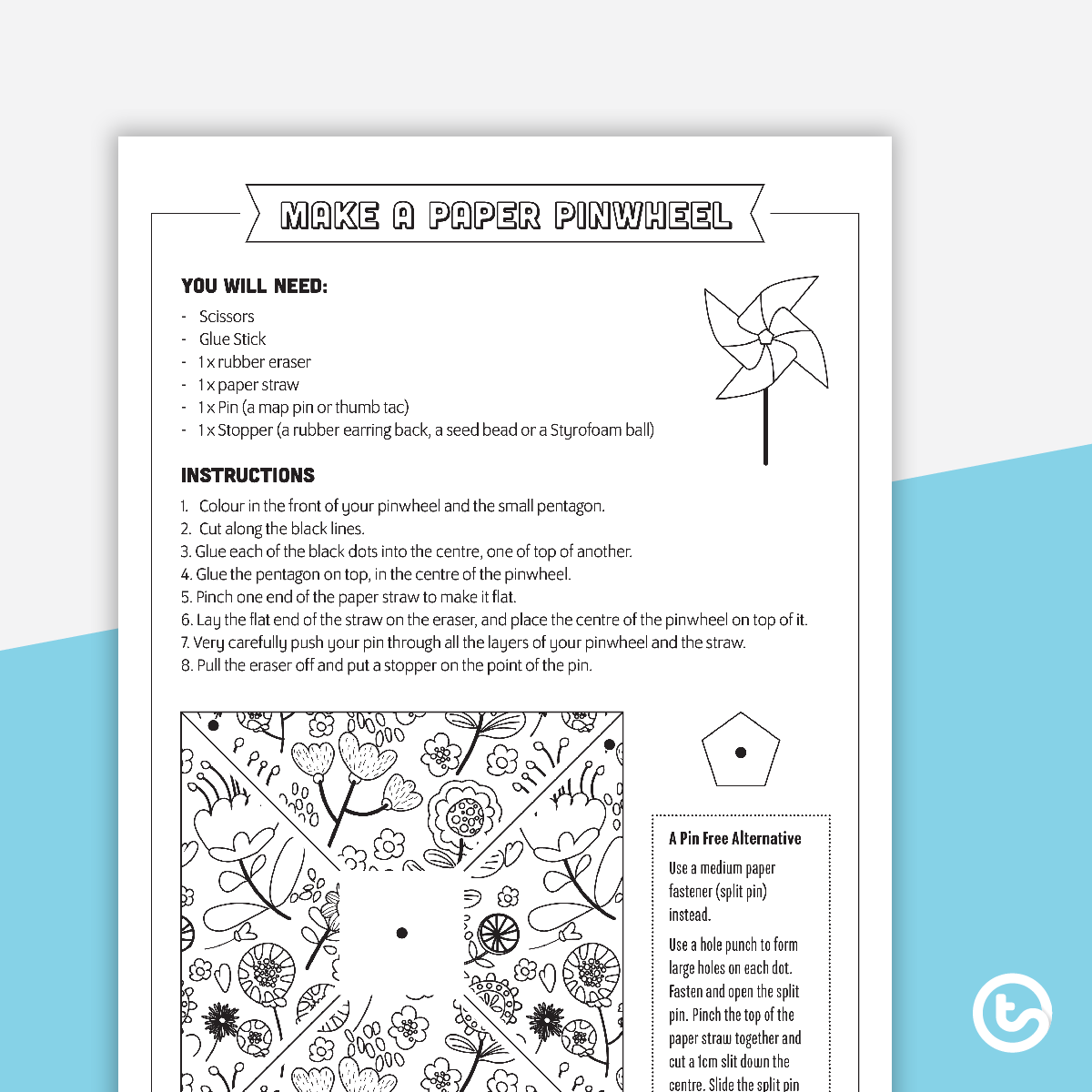 Mindfulness Colouring In Pinwheel Activity Teaching
