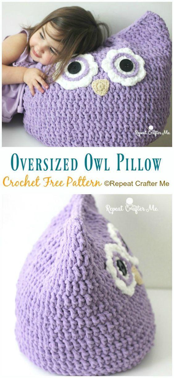 Huggable Owl Pillow Crochet Free Patterns #uncinettoperbambina