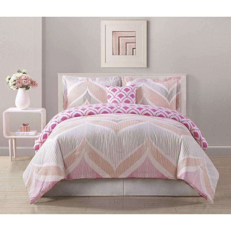 Bed Threads Fine Line Pink Comforter Set Cs9556 Comforter Sets