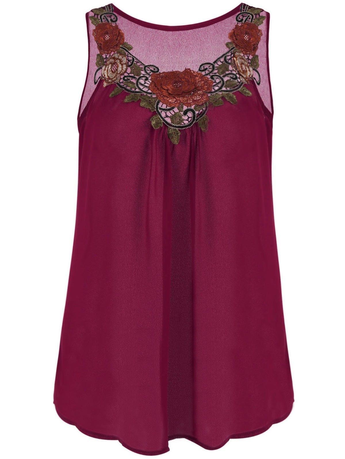 81643f703d3  8.99 - Women Ladies Plus Size Chiffon Top Shirt Embroidered Sleeveless Top  Shirt  ebay  Fashion