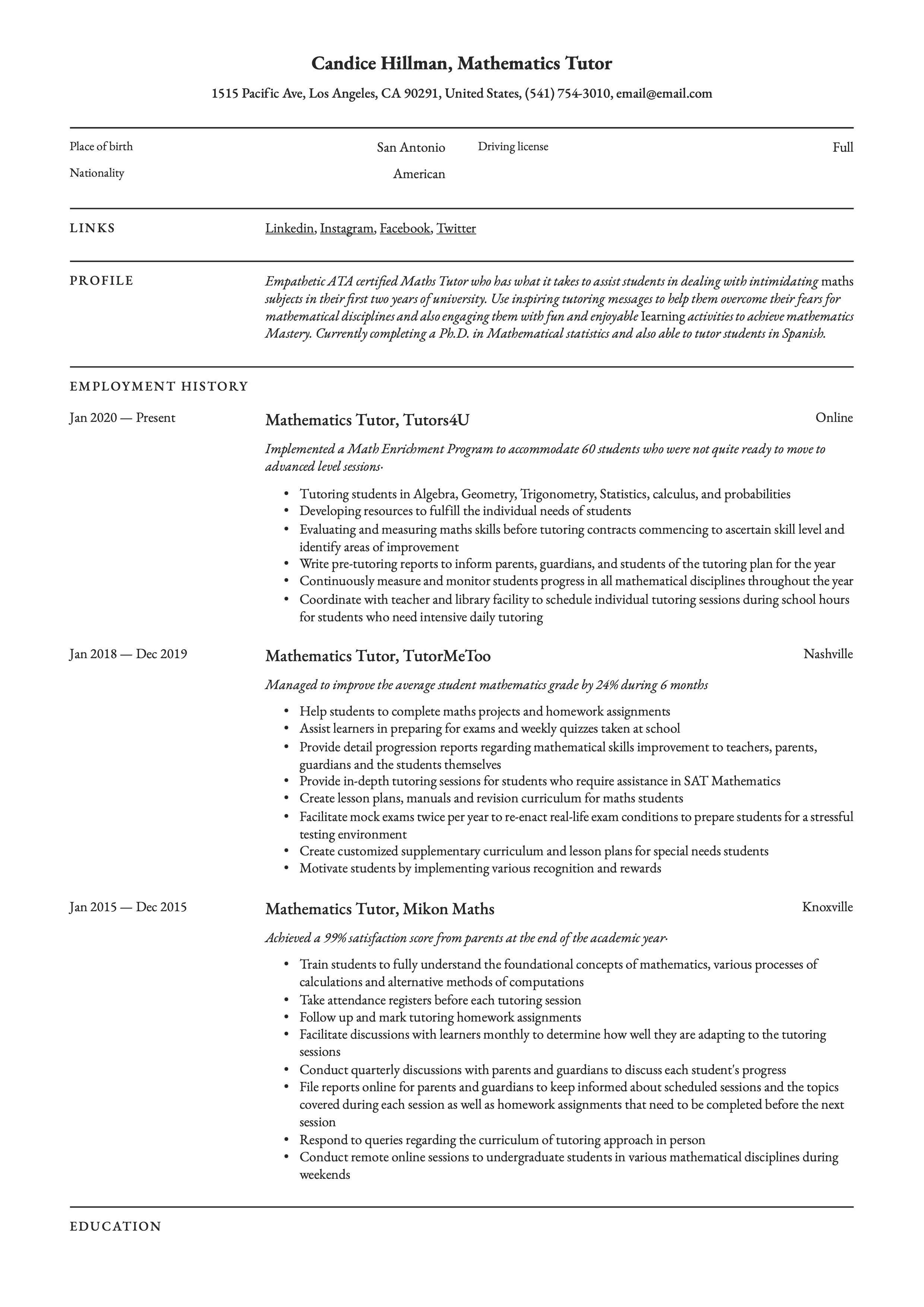 Mathematics Tutor Resume Example Mathematics Guided Writing Math Tutor