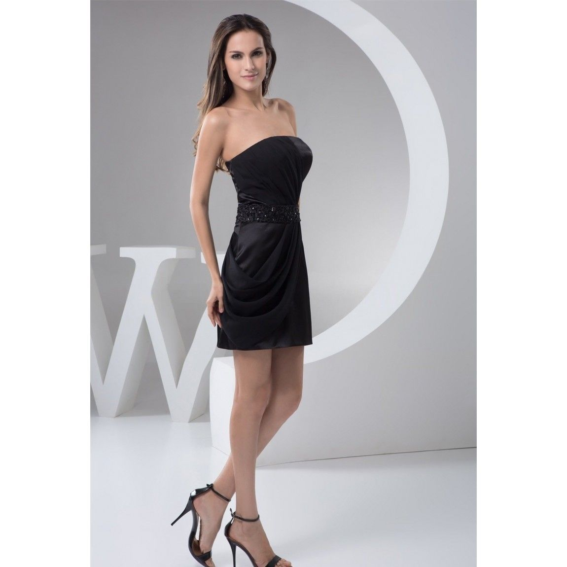 Strapless black satin cocktail dress | Color dress | Pinterest ...
