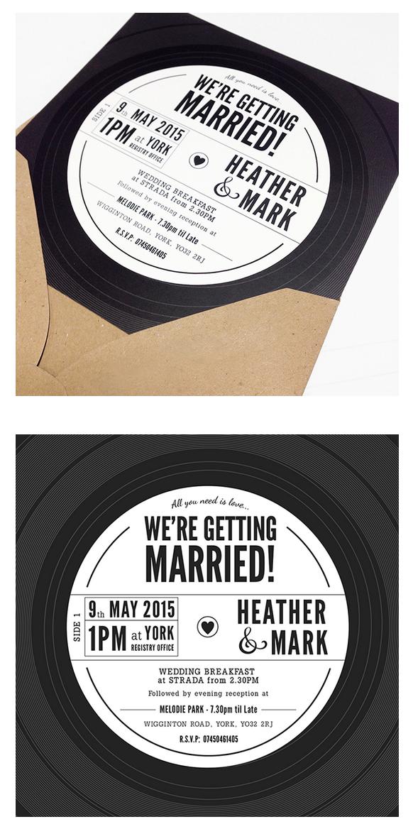 Vinyl record inspired wedding invitation design for music-lovers <3 ...