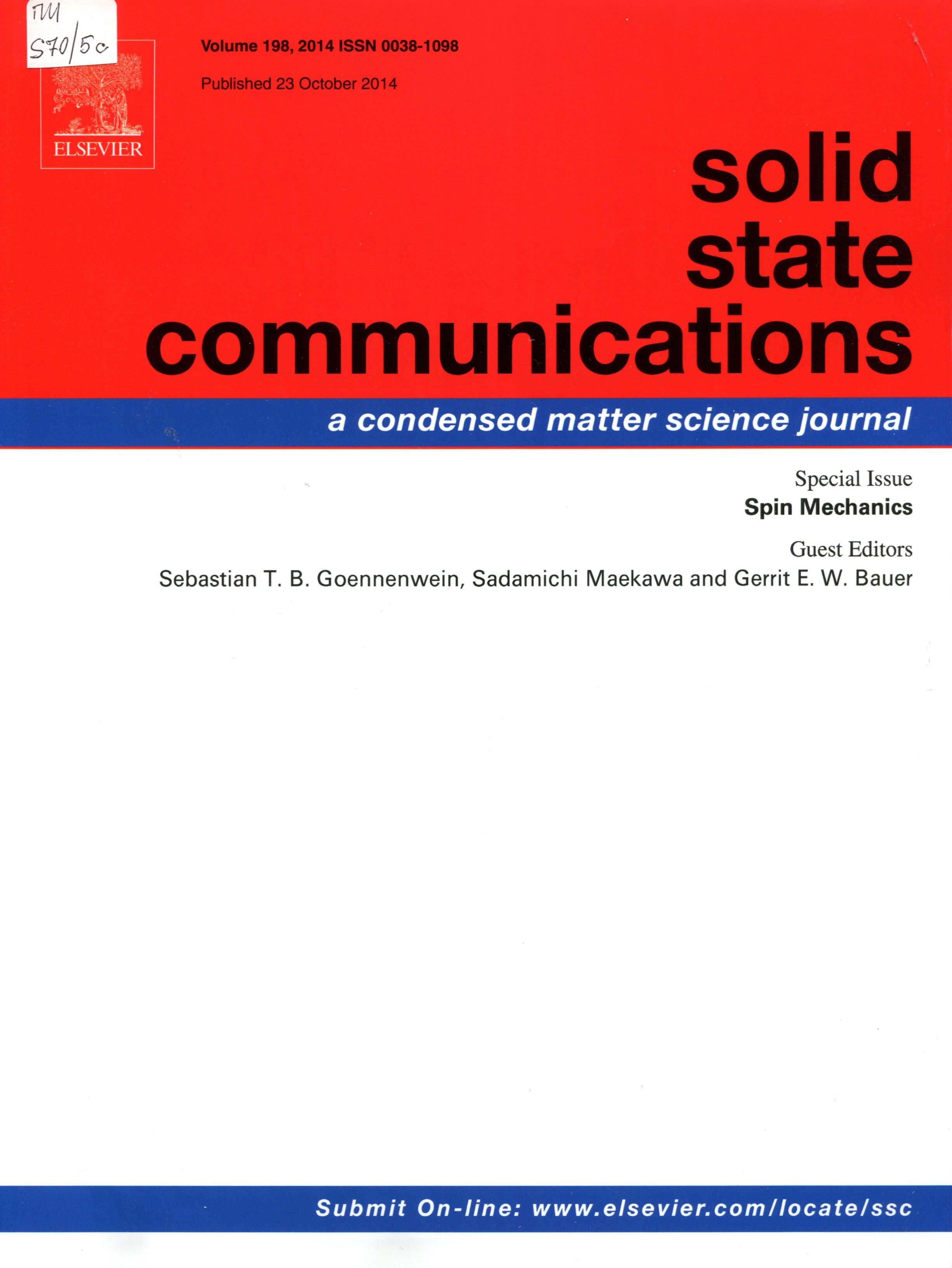 Публикации в журналах, наукометрической базы Scopus   Solid State Communications #Solid #State #Communications #Journals #публикация, #журнал, #публикациявжурнале #globalpublication #publication #статья