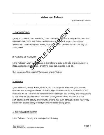 Product liability waiver template free liability waiver release of printable sample release and waiver of liability agreement form altavistaventures Images