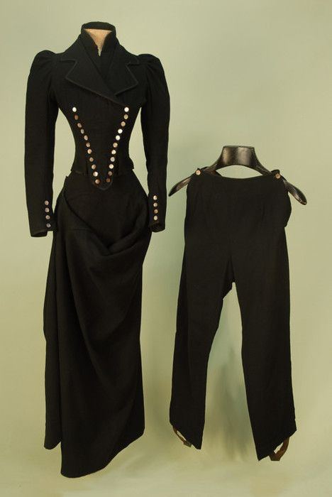 Riding habit with pants, ca. 1885.  All you need is a matching top hat and veil and a pony!