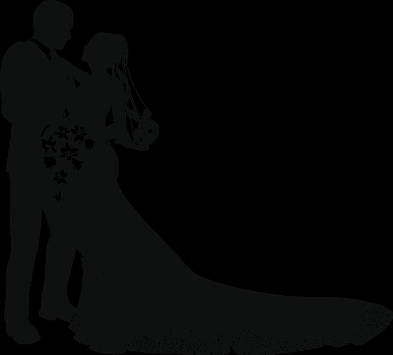 Силуэт жениха и невесты для открытки, для детей фотограф