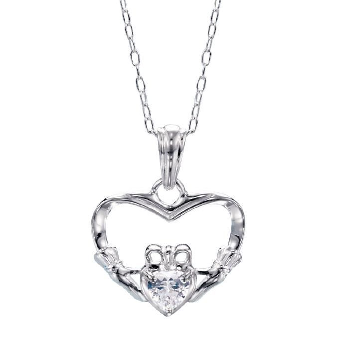 58 L Pendant With Heart Shaped Cz Sterling Silver Chain 19 L