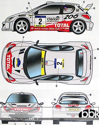 STUDIO 27 PEUGEOT 206 WRC #2 #16 CATALUNYA SWEDISH RALLY 2001 DECAL TAMIYA 1/24 #Fujimi
