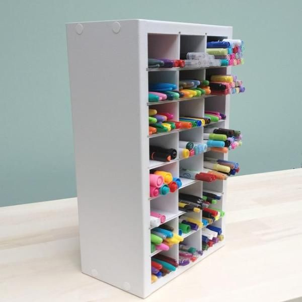 A Side View Of The Marker Organizer Standing Up Like Its On A Desk Or Craft Space Marker Storage Craft Storage Craft Room Office