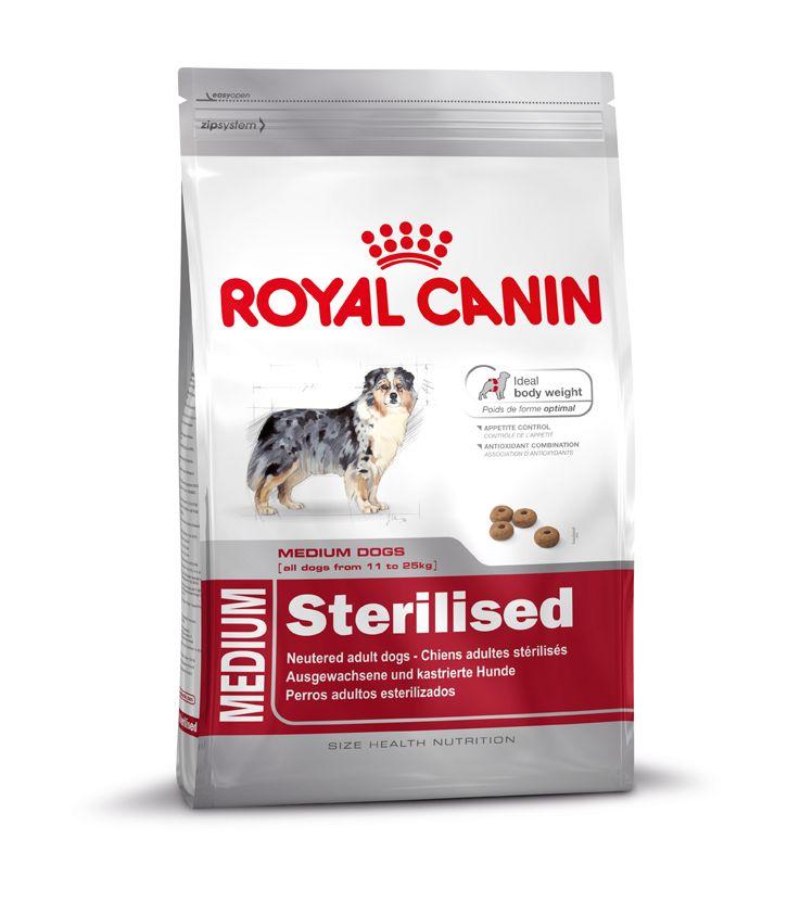MEDIUM Sterilised - Alleinfuttermittel für #kastrierte #Hunde – ab dem 12. Monat.  MEDIUM Sterilised kann unter Beachtung einer speziell abgestimmten Fütterungstabelle (siehe Packungsaufdruck) sowie dem Zusammenwirken eines erhöhten #Proteingehalts (28%), eines reduzierten #Fettgehalts (13%) und L-Carnitin (zur Unterstützung der #Fettverbrennung) helfen, das #Idealgewicht bei kastrierten Hunden zu halten.