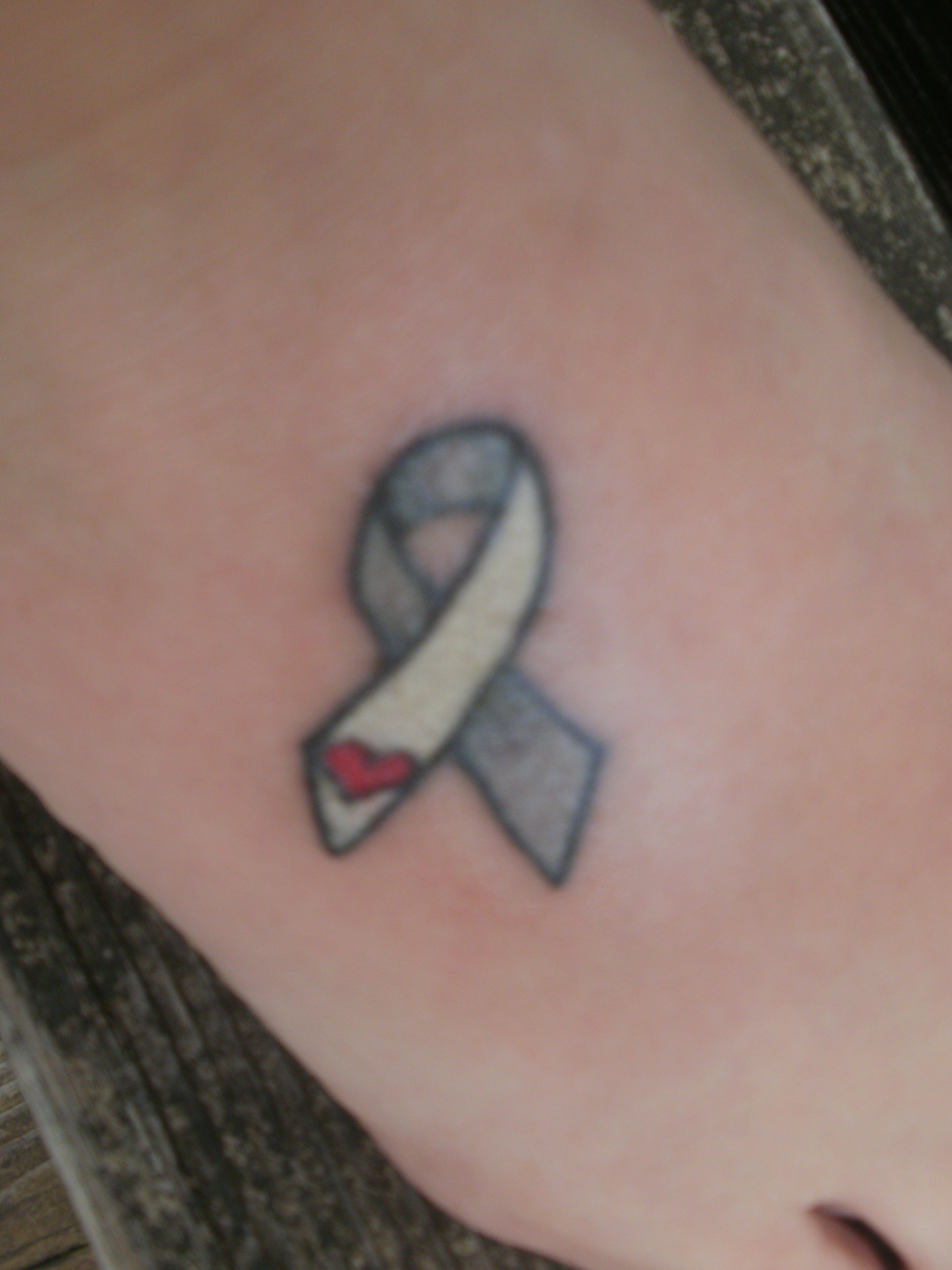 Cancer ribbon tattoo that i got yesterday in support of my