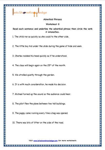 Adverbial Phrases Printable Worksheets Worksheet ...