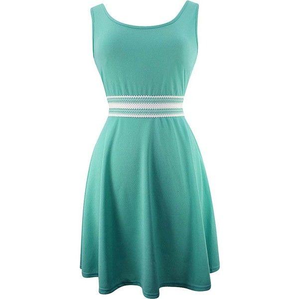 Aqua Blue Sleeveless Summer Skater Dress (560 MXN) ❤ liked on Polyvore featuring dresses, blue, midi skater dresses, blue dress, blue skater dress, blue fit-and-flare dresses and sleeveless midi dress
