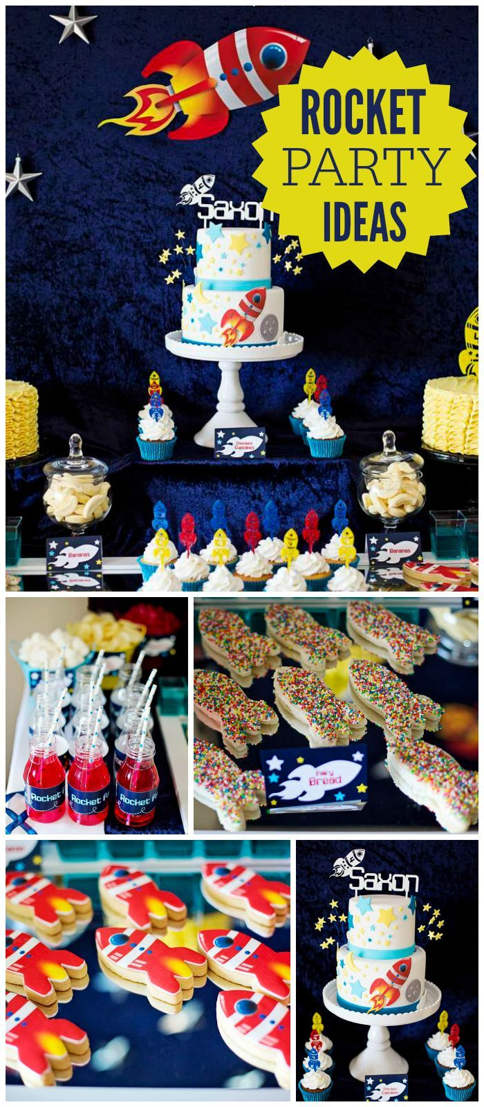 Check out this awesome outer space rocket birthday party with fairy bread and an amazing cake! See more party planning ideas at CatchMyParty.com!