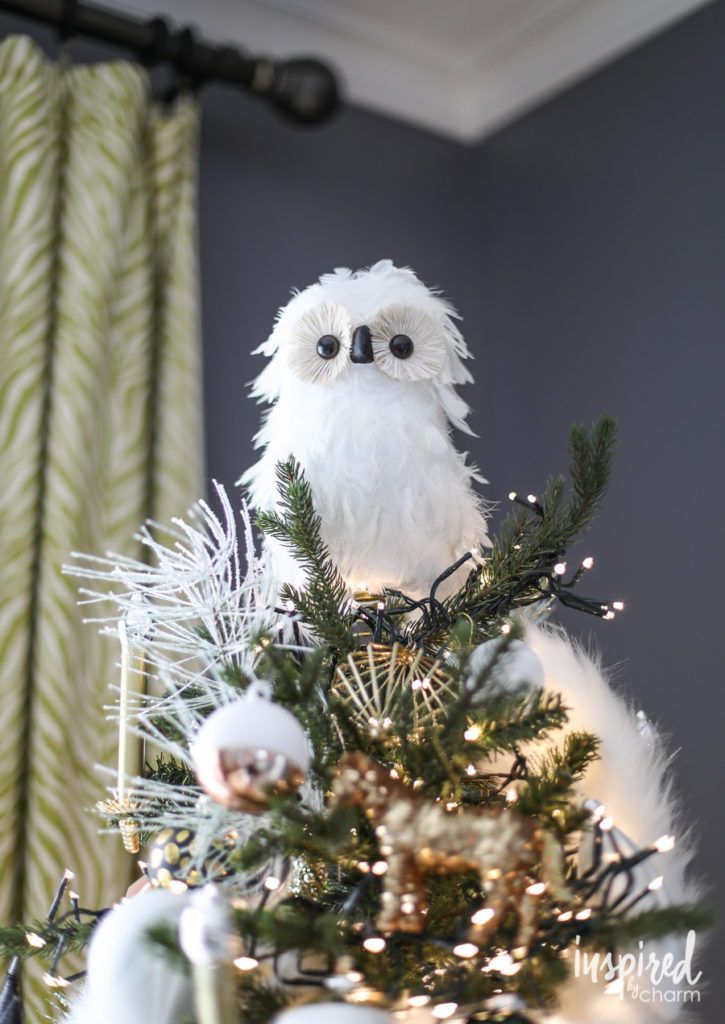 Owl Woodland  Christmas Tree Ornament gray faux fur