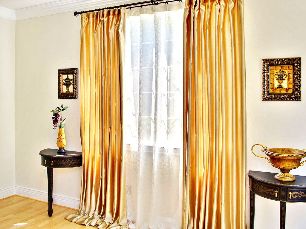 gold satin curtains