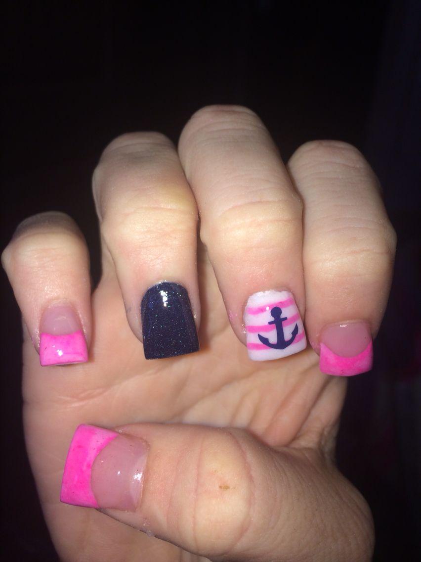 Anchors away acrylics | Acrylic nails! | Pinterest | Acrylics and ...