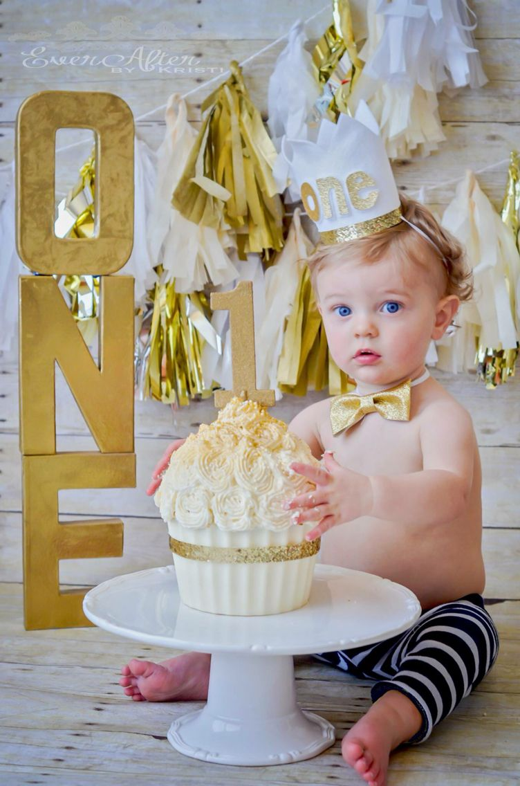 One Year Old Golden Birthday Props Glitter Safari First Cake Smash Giant Cupcake
