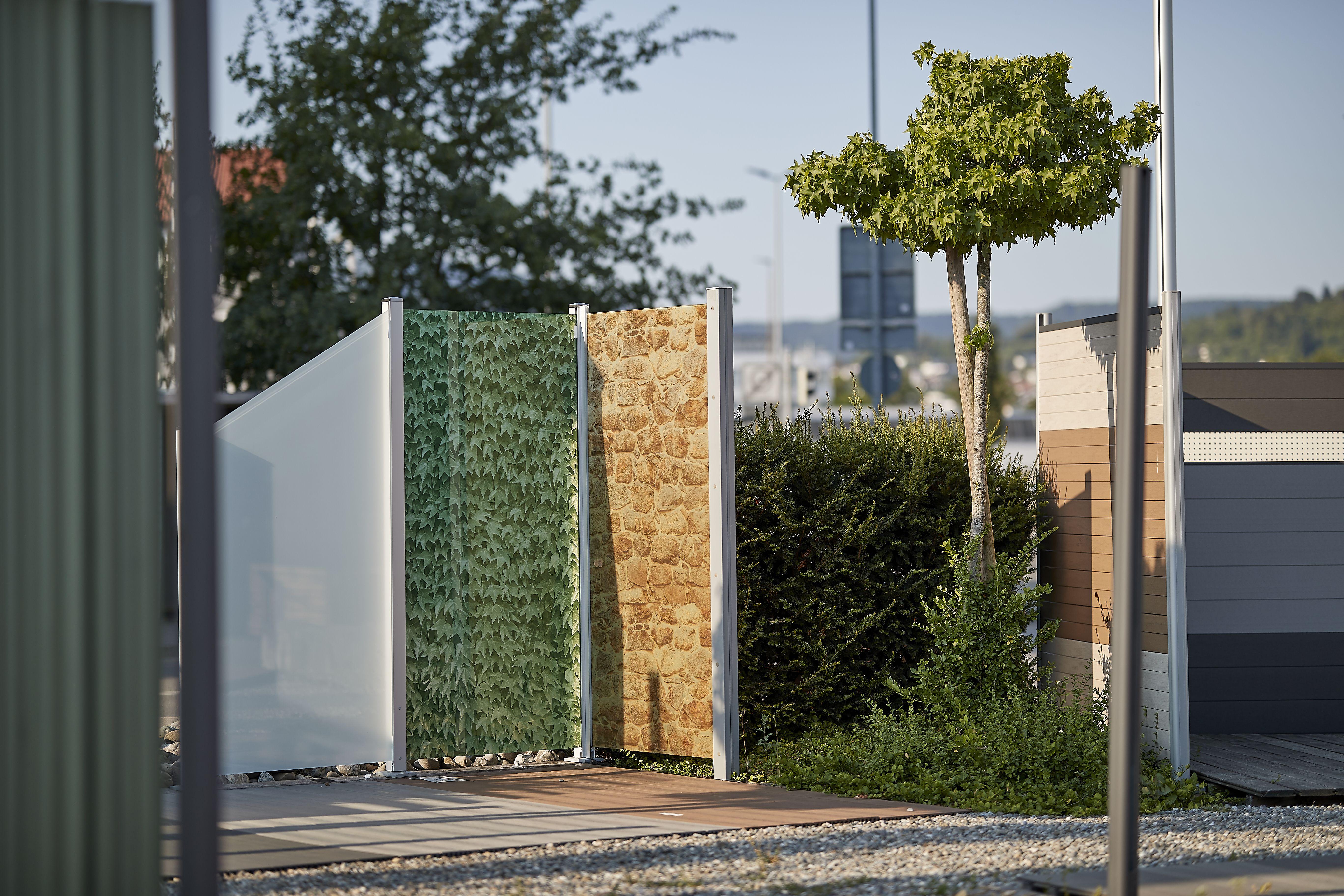 Holz Braun In Reutlingen Sichtschutz Aus Glas Mit Verschiedenen Motiven Holz Im Garten Gartenzaun Holz Gartenzaun