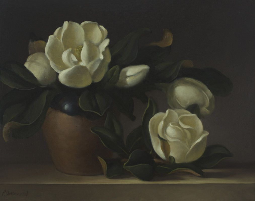 Philip Drummond Magnolias Oil On Canvas Painting White Flowers