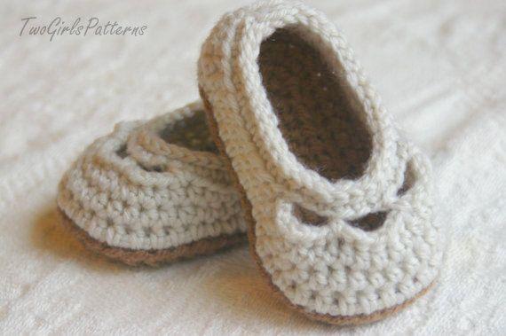 Crochet patrones bebé zapato zapatilla de por TwoGirlsPatterns ...
