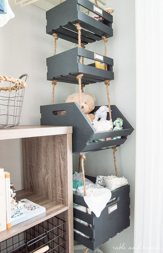 Simple Hanging Closet Storage Crates with Rope | Table and Hearth