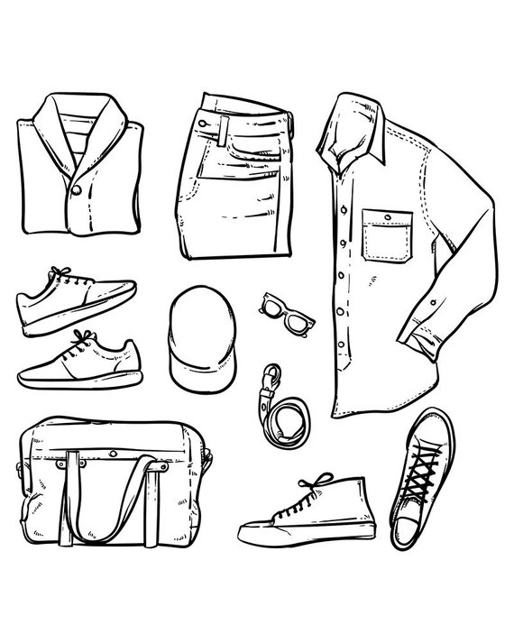 80 Off Sale Hand Drawn Vector Clothing And Accessories Men Fashion