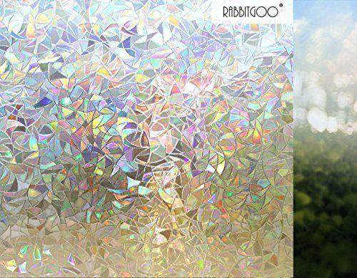 Rabbitgoo rouleau de film d coratif non adh sif electrostatique occultant 3d pour vitrage vitres - Film occultant fenetre decorative ...