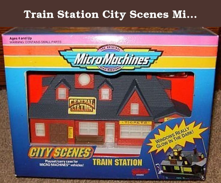 Train Station City Scenes Micro Machines Playset. Produced by Galoob in 1992. Rare. Vehicles sold separately. Approximate box dimensions are 8 x 6 x 2.5 inches.