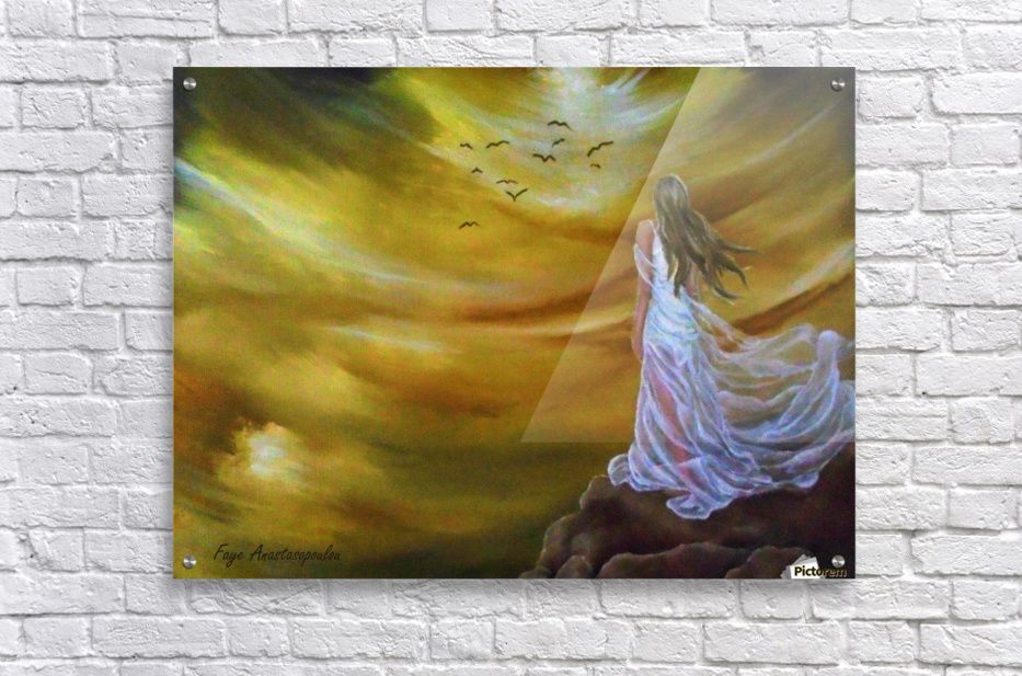 Acrylic Print, Painting, sky,skyscape,clouds,girl,female,figure ...