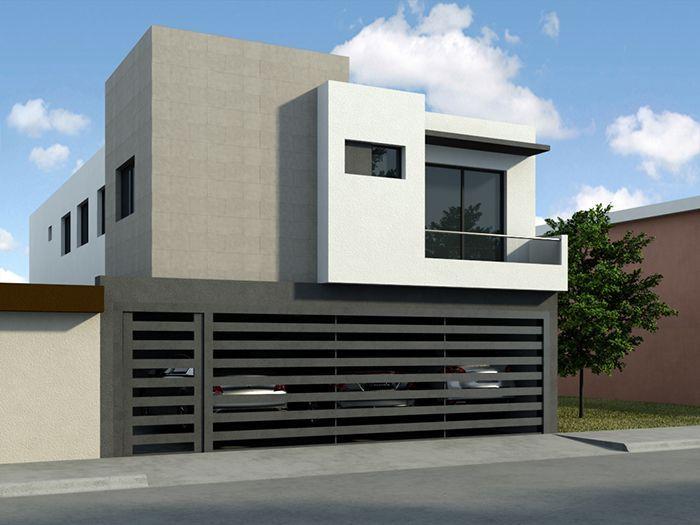 Fachada de casa peque a fachadas pinterest fachadas for Viviendas minimalistas pequenas