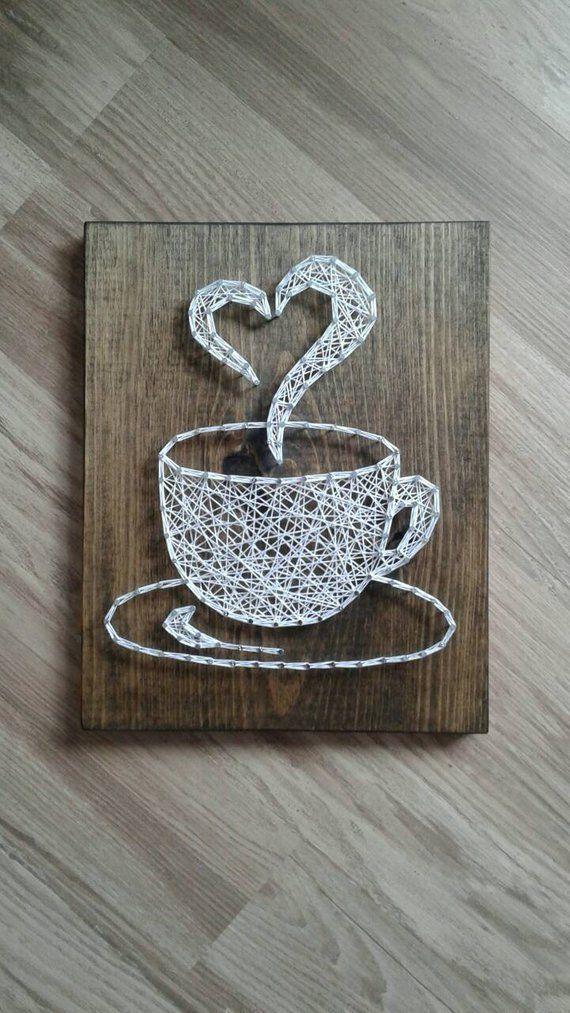 Kaffee String Kunst, Kaffeetasse String Kunst, String Kunst Kaffeetasse, Kaffee Wanddekoratio... #espressocoffee