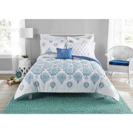 Mainstays Bed In A Bag Arabesque Full Bedding Set White
